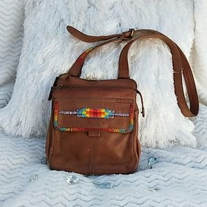 VINTAGE Fossil Hand Embellished Leather Handbag